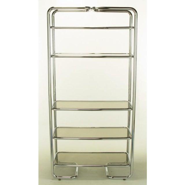Tubular Chrome & Smoked Glass Five Shelf Etagere. - Image 2 of 10
