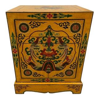 Vintage Tibetan Painted Nightstand For Sale