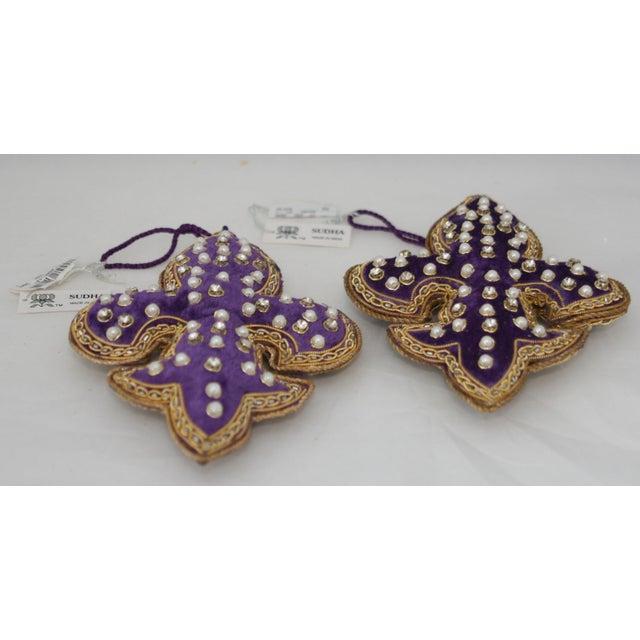 2010s Sudha Pennathur Fleur De Lis Purple Velvet Beaded Ornaments - Set of 2 For Sale - Image 5 of 7