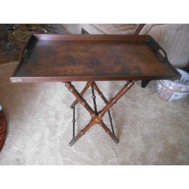 Knob Creek Burl Walnut Tea Tray Table - Image 3 of 7