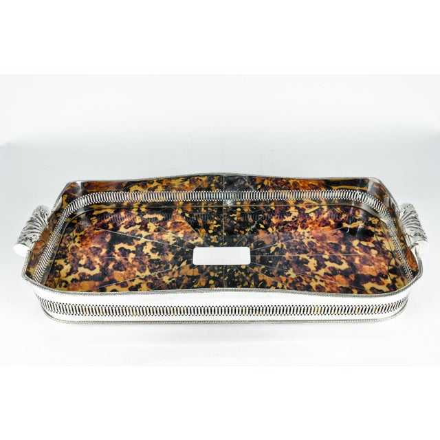 Metal English Oblong Faux Tortoise Shell Silver Plated Footed Tray For Sale - Image 7 of 7