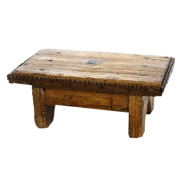Mini Hand Carved Wooden Stool For Sale