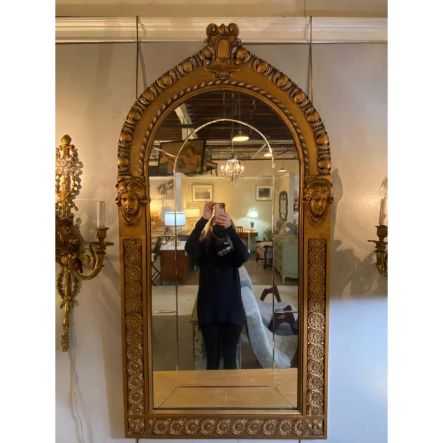 1960s Pair of Neoclassical Wall or Console Mirrors, Giltwood Carved For Sale - Image 5 of 13