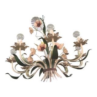 Italian Tole Ware Chandelier 8 Light For Sale
