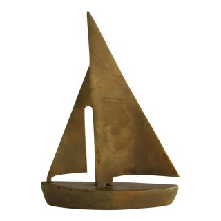 1960s Brass Miniature Boat by Dolbi Cashier For Sale