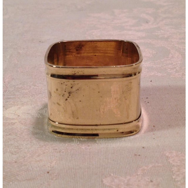 Mid-Century Modern Square Brass Napkin Rings - Set of 6 For Sale - Image 9 of 9
