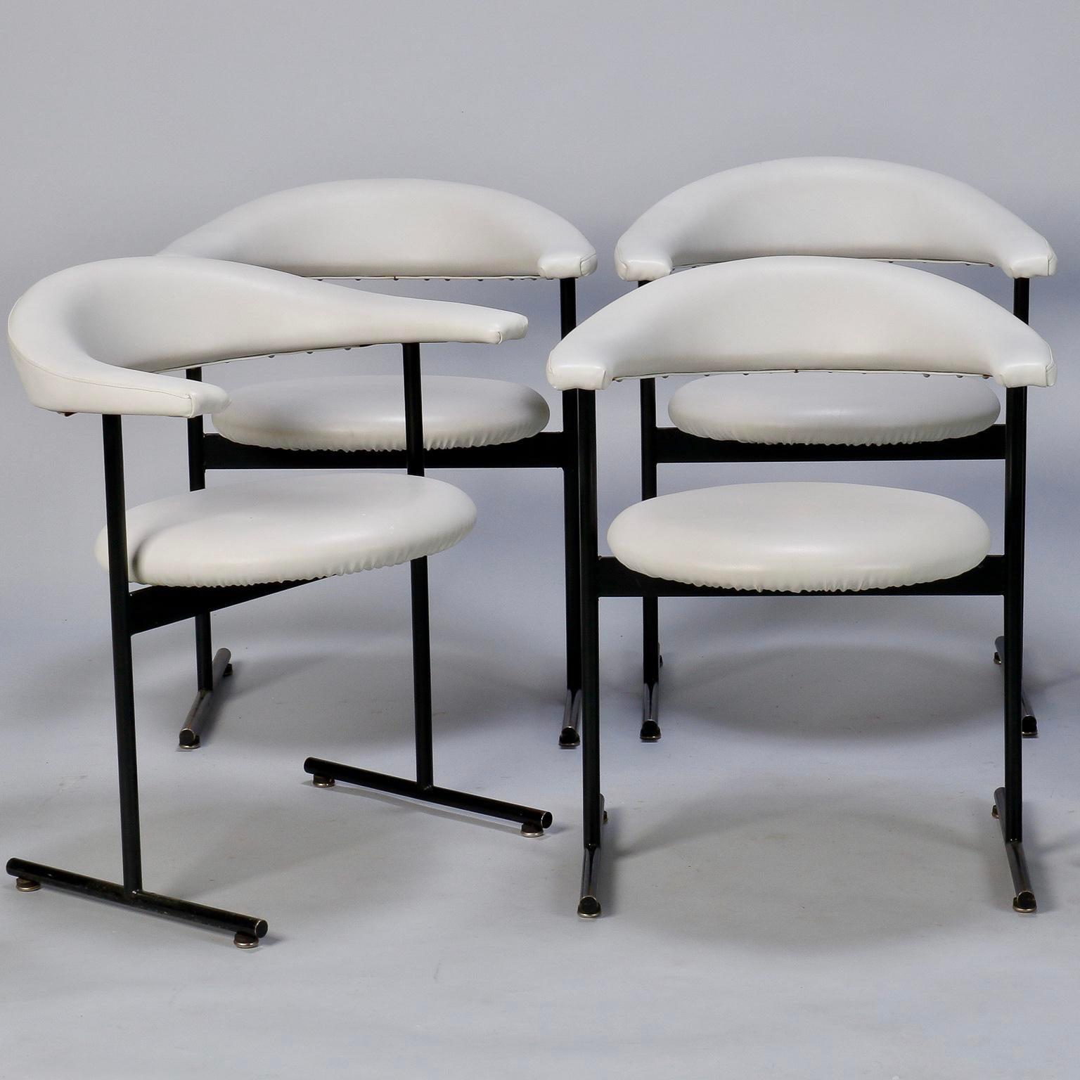 Mid Century Modern Streamlined Black Metal Armchairs  Set Of 6   Image 3 Of