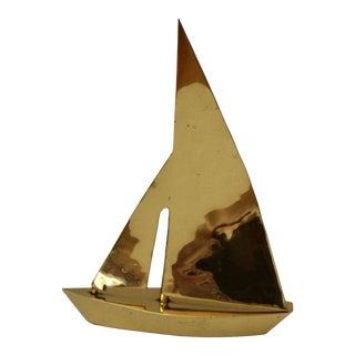 Large Heavy Vintage Mid Century Sculptural Brass Sailboat Door Stop For Sale