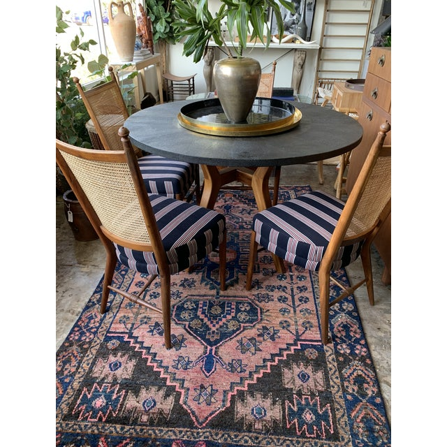 """48"""" round black faux shagreen dining table with contemporary wood base, perfect for 4 chairs. Made in 2010 and base..."""