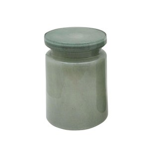 Modern Gray-Green Glass Stool or Side Table For Sale