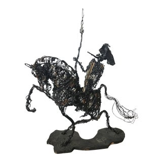 Reyes Brutalist Wire Knight and Horse Sculpture For Sale
