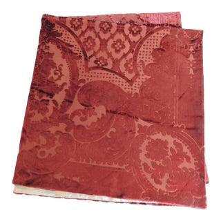 19th Century Silk Velvet Gaufrage Red Throw For Sale