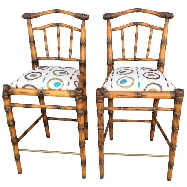 Walters Wicker Carlyle Bamboo Bar Stools - a Pair - Image 1 of 6