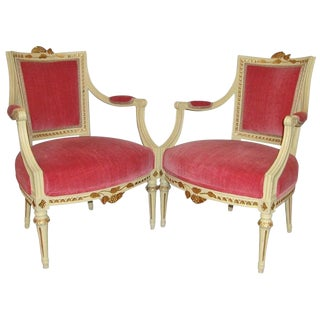 Pair of Carved Fauteuils by Gustavian Side Chairs by Maison Jansen For Sale