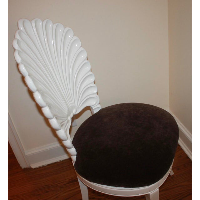 White Vintage Shell Back Grotto Chair, Freshly and Professionally Lacquered For Sale - Image 8 of 9