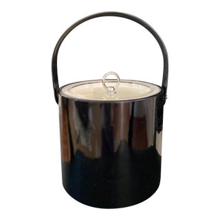 Vintage Georges Briard Black Patent and Lucite Ice Bucket For Sale