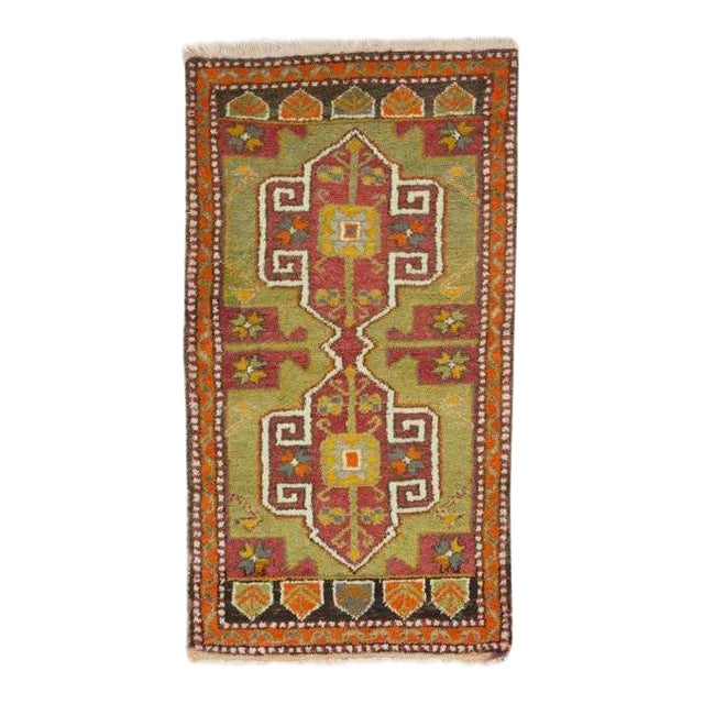 Vintage Hand Knotted Mini Oushak Rug - 1′10″ × 3′7″ For Sale