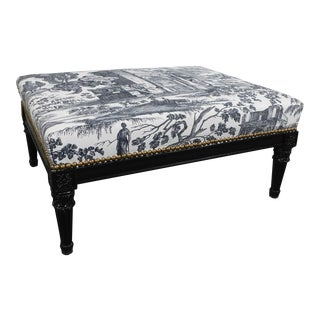 French Louis XVI Custom Black Ebonized Footstool, Toile Upholstery For Sale