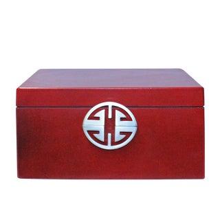 Oriental Round Hardware Red Rectangular Container Box Medium For Sale