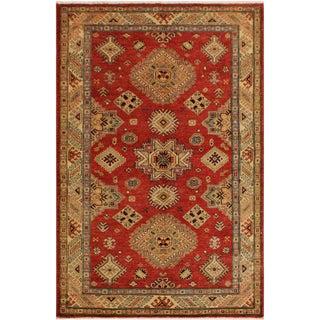Super Kazak Garish Louis Red/Lt. Gold Wool Rug - 4'1 X 6'3 For Sale