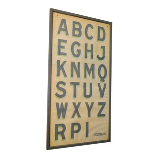 Hand-Painted Alphabet Chart For Sale