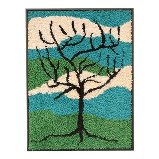 Tree Silhouette Framed Hand Hooked Tapestry For Sale