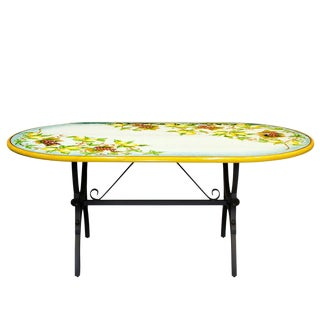 Ceramic Stone Table + Iron Base: Capri Design - Oval Oblong For Sale