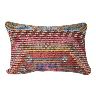 Turkish Lumbar Pillow Cover, Wool Farmhouse Decor 14'' X 20'' (35 X 50 Cm) For Sale