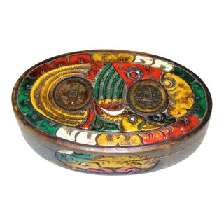 Chinese Enameled Wooden Box With Ancient Cash Coins For Sale