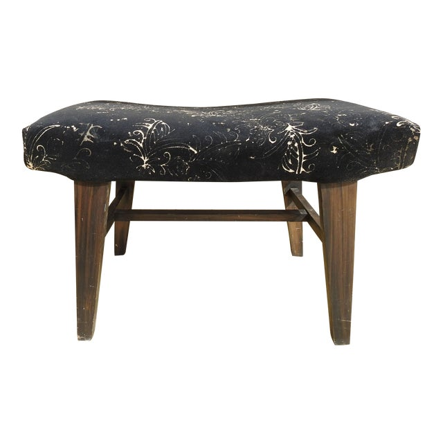 Mid-Century Modern Custom Velvet Upholstery Bench For Sale