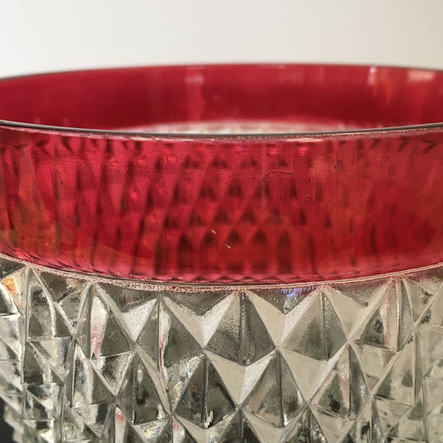 Red Hobnail Glass Ruby Flash Ice Bucket For Sale - Image 8 of 11