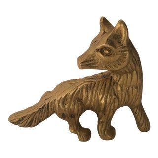 Vintage Solid Brass Fox Paperweight For Sale