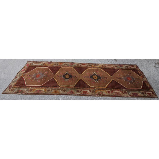 Vintage Tribal Turkish Hand Knotted Rug - 4' X 12'2 - Image 6 of 6