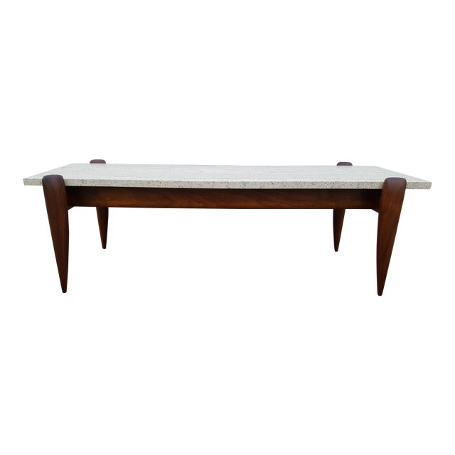1950s Mid-Century Modern Gio Ponti for Singer & Sons Travertine Coffee Table For Sale