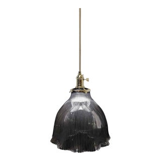 Holophane Rib & Ruffle Shade Pendant Light For Sale