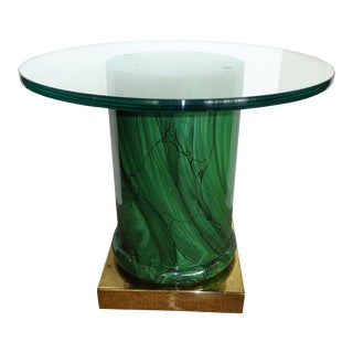 1970s Mid-Century Modern Classic Green Malachite Column Side Table