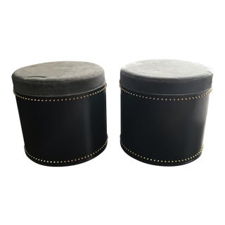 Taylor Burke Modern Black, Grey, and Gold Studded Ottomans - A Pair For Sale
