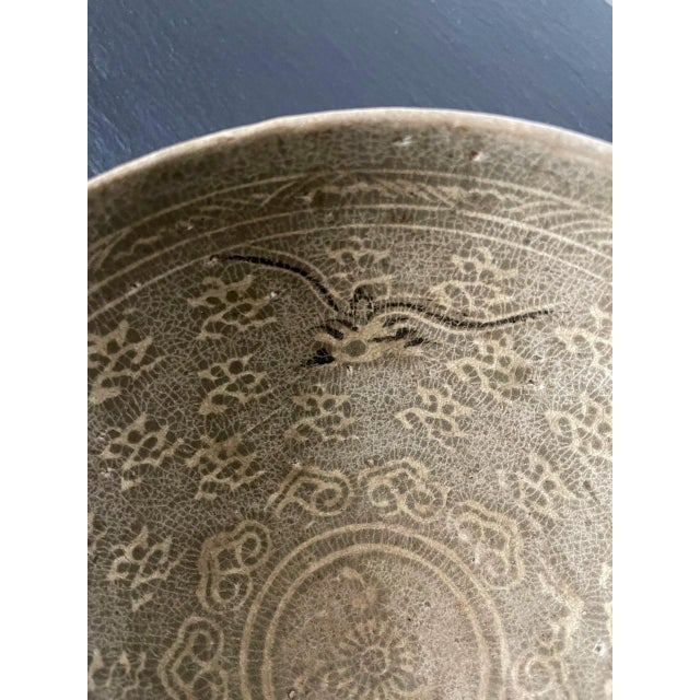 15th Century & Earlier Korean Ceramic Celadon Bowl with Slip Inlay Goryeo Dynasty For Sale - Image 5 of 13