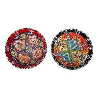"Turkish Handmade Floral Ceramic 6"" Bowl- 2 Piece Set For Sale"