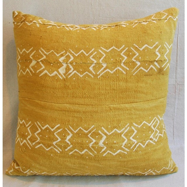 Handwoven Gold & Cream Tribal Feather & Down Pillow - Image 3 of 5
