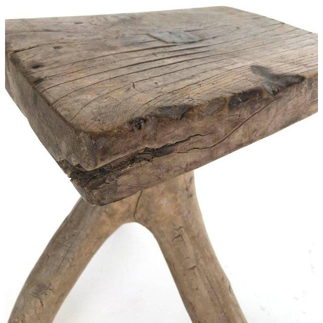 Brown Rustic Vintage Three-Legged Elmwood Stool For Sale - Image 8 of 10