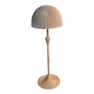 Mid-Century White Wicker Floor Lamp