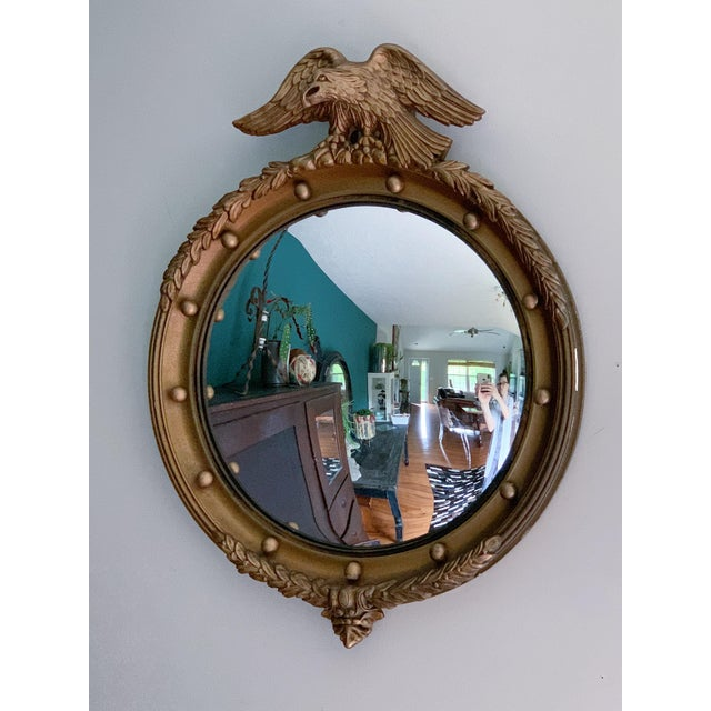Gold Vintage Gilt Wood Federal Eagle Convex Mirror For Sale - Image 8 of 8