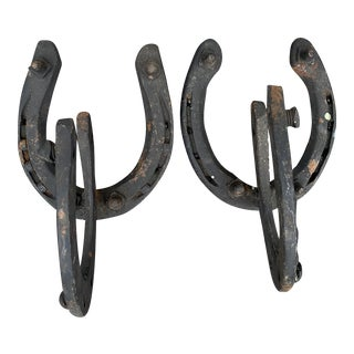 Mid 20th Century Horseshoe Wall Hooks - a Pair For Sale