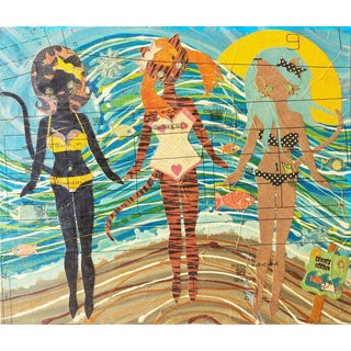 2012 Cristina Sayers Kitties at the Beach Painting For Sale