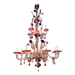 Large Murano Glass Red and Blue Flower Chandelier For Sale
