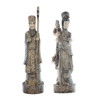 1950s Vintage Chinese Antique Etched Bone Statues - a Pair For Sale