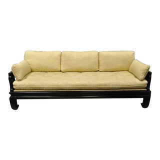 1960s Vintage Michael Taylor for Baker Black Ebonized Oriental Ming Sofa For Sale