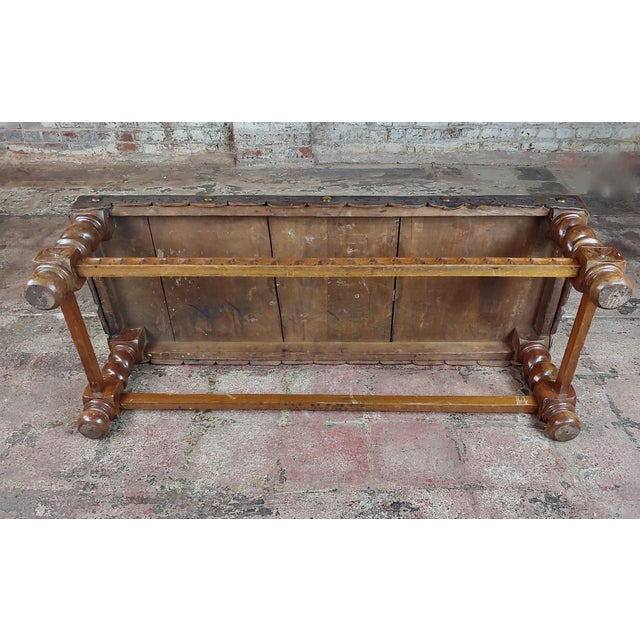 Antique Spanish Colonial Bench-Beautiful Carved Wood & Embossed Leather For Sale - Image 9 of 10