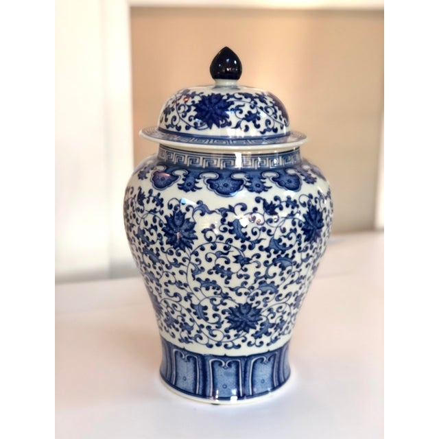 """Blue & White Ginger Jar with Lid, 16"""" Urn Hand carved and painted in traditional cobalt blue on white. Williams Sonoma..."""